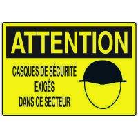 Enseignes de Sécurité - Attention Casques De Securite Exiges Dans Ce Secteur