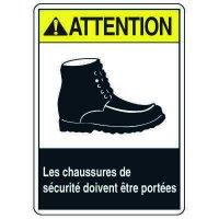 Enseignes de Sécurité - Atttention Les Chaussures De Securite Doivent Etre Portees