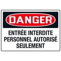 Enseignes de Sécurité - Danger Entrée Interdite Personnel Autorisé Seulement