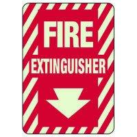 Glow In The Dark Fire Extinguisher Sign - Down Arrow