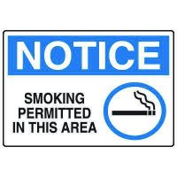 No Smoking Signs - Notice Smoking Permitted In This Area