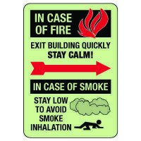 In Case Of Fire & In Case Of Smoke Stay Calm Photoluminescent Sign