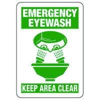 Emergency Eyewash Keep Area Clear Safety Signs