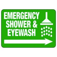 Emergency Shower (Right Arrow) - Industrial First Aid Sign