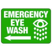 Emergency Eyewash (Left Arrow) - Industrial First Aid Sign