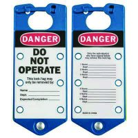 Brady Labeled Lockout Hasps (Blue) - Part Number - 65972 - 5/Pack