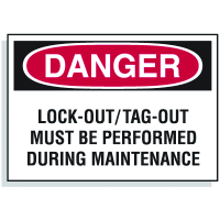 Lockout Hazard Warning Labels- Danger Lock-Out/Tag-Out Must Be Performed