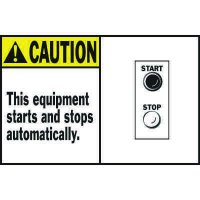 Machine Warning Labels - Caution This Equipment Starts And Stops Automatically