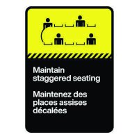 Bilingual CSA Sign - Maintain Staggered Seating