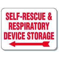 Giant Emergency & Evacuation Signs - Self-Rescue & Respiratory Device Storage