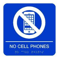 No Cell Phones - Graphic Braille Signs