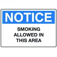 Notice No Smoking Signs - Smoking Allowed In This Area