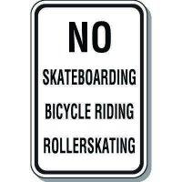 No Skateboarding Bicycle Riding Rollerskating Sign