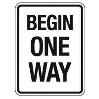 Reflective Traffic Reminder Signs - Begin One Way