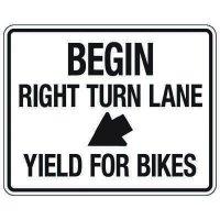 Reflective Traffic Reminder Signs - Begin Right Turn Lane