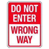 Reflective Traffic Reminder Signs - Do Not Enter Wrong Way