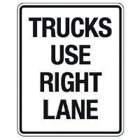 Reflective Traffic Reminder Signs - Trucks Use Right Lane