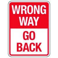 Reflective Traffic Reminder Signs - Wrong Way Go Back