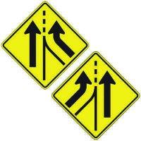 Reflective Warning Signs - Added Lane (Symbol)