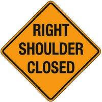 Reflective Warning Signs - Right Shoulder Closed