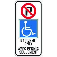 Regulatory Accessible Parking Permit Signs - Bilingual BY PERMIT ONLY