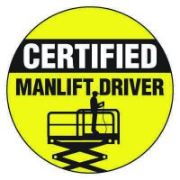 Safety Hard Hat Labels - Certified Manlift Driver