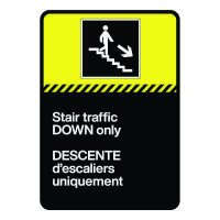 Bilingual CSA Sign - Stair Traffic Down Only