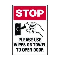 Stop Use Wipes or Towel Label