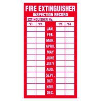 Fire Extinguisher Inspection Label, Adhesive Vinyl - 2021-2024
