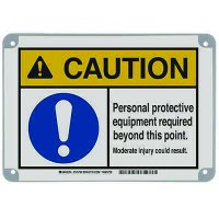 ToughWash® Encapsulated Signs - Caution Personal Protective Equipment