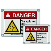 ToughWash® Encapsulated Signs - Danger Equipment Starts Automatically
