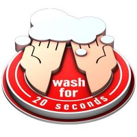 3D Floor Marker - Wash For 20 Seconds - Red