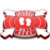 3D Floor Marker - Stop Please Wait Here - Red
