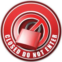 3D Wall Decal - Closed Do Not Enter - Red
