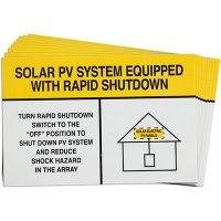 White/Yellow Rapid Shutdown Solar Warning Labels