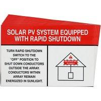 White/Red Rapid Shutdown Solar Warning Labels