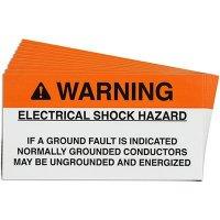 Ground Fault Solar Warning Labels