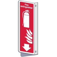2-Way Fire Extinguisher w/Flame Sign