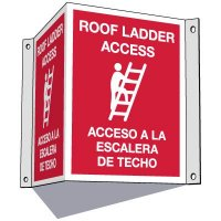 3-Way Bilingual Roof Ladder Access Sign