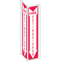 Fire Extinguisher 3- Way Sign with Down Arrow