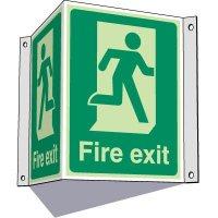 3-Way Running Man Fire Exit Sign