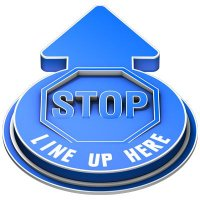 Stop Line Up Here Outdoor 3D Floor Sign - Blue