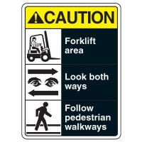 Caution Forklift Area ANSI Sign
