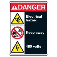 ANSI Multi-Message Safety Signs - Danger Electrical Hazard