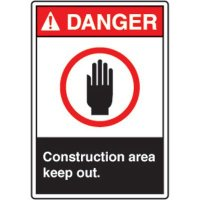 ANSI Safety Signs - Danger Construction Area Keep Out