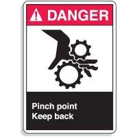 ANSI Z535.2-2011 Safety Signs - Danger Pinch Point Keep Back