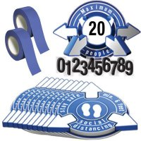 3D Social Distancing Label Kit for Auditoriums - Blue
