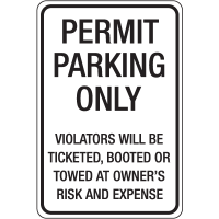 Auto Boot Warning Signs - Permit parking Only