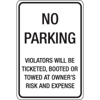 Auto Boot Warning Signs- No Parking