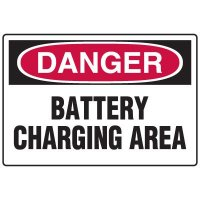 Battery Charging Area Danger Sign